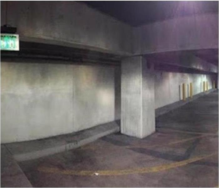 Parking Deck Smoke/Soot Cleanup Before